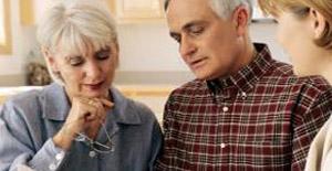 couple considering retirement village